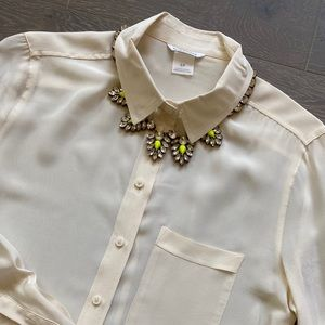 Club Monaco White Silk Button Down Shirt